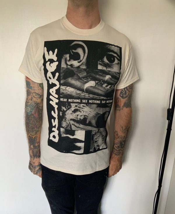 Discharge – Hear Nothing Tour Natural  T Shirt