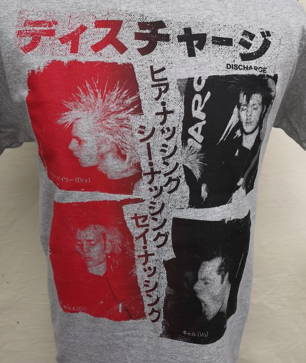 Discharge – Hear Nothing Band Japanese Colour Fade  T Shirt
