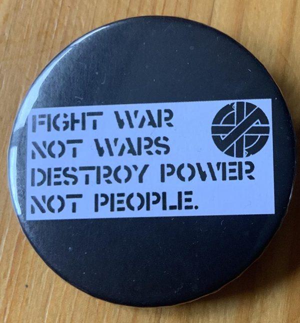 Crass – Fight Power Binlid 52mm Badge